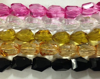 15x20mm faceted acrylic nugget beads ,17beads