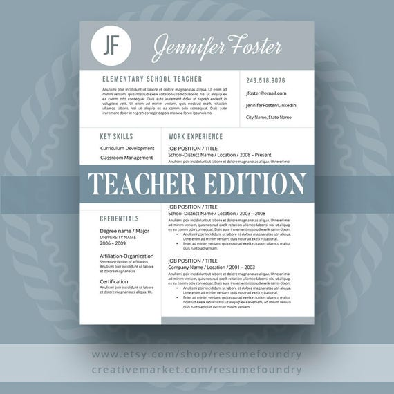 Teacher Resume Template for Word 1-3 Page Resume Cover