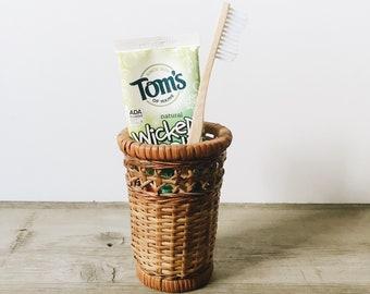 Small wicker basket | wicker basket toothbrush holder