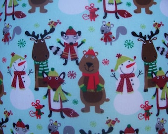 Christmas Critters in Scarves pair of pillowcases