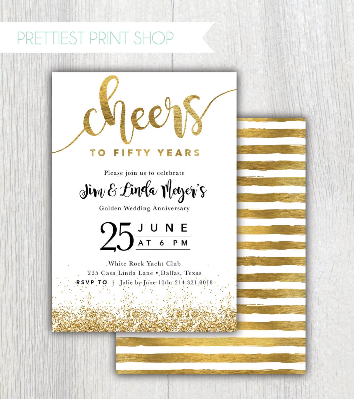 Printable Cheers to Fifty Years wedding anniversary invitation
