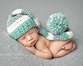 Elf Hat in Mint, Cream and Silver