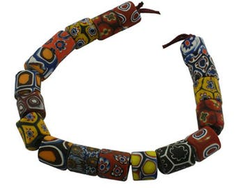 Pearl tube, multicolored, African millefiori are handmade, set of 5 Pcs