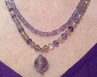 """Amethyst Duet 2 Strand Amethyst and Citrine 18 1/2"""" Necklace"""