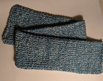Blue and White Twist Winter Scarf