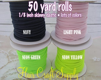 LIGHT PINK - Skinny Elastic 50 yard roll for baby and adult headbands thin one eighth inch width rolled on tiny rolls for storage