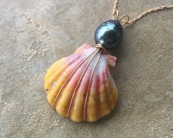 Bright Pink and Orange Sunrise Shell with Tahitian Pearl Drop Necklace