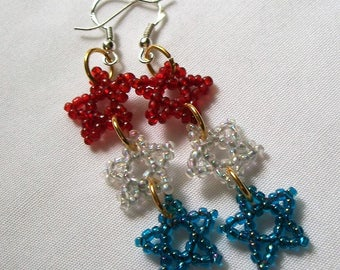 Beaded Star Earrings, Red White and Blue, Seed Bead Earrings, Star Earrings, Beaded Dangle Earrings, Red White and Blue Star Earrings