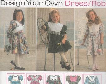 Simplicity 9297 Vintage Pattern Girls  Dress in 9 Variations Size 3,4,5,6 UNCUT