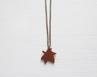 Brown Leather Pendant Necklace Mini Maple Leaf Pendant with an Antiqued Brass Chain