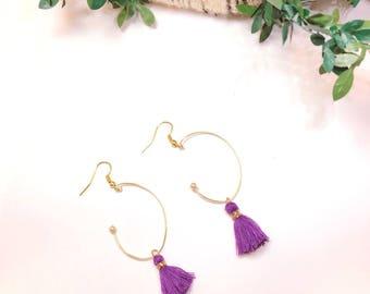 tassel earrings, purple earrings, hoop earrings, minitassel earrings, fringe earrings,
