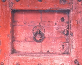 "Door Photography, Old Door Art, Architecture Print, Red Rustic Decor, Primitive Art, Cottage Farmhouse Print, Distressed Door- ""Rural Red"""