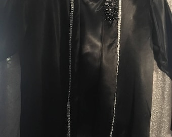 Two Piece/Black Satin Vintage Inspired (1980's)Pairing /Size L