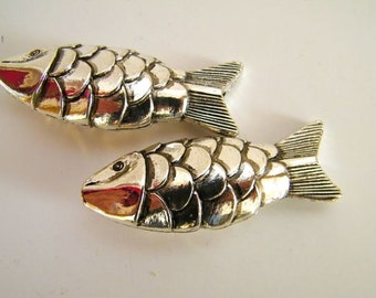 Two Jumbo Silvery Fish  - 64 mm x 22 mm