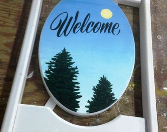 Hand Painted Pine Tree Welcome Sign