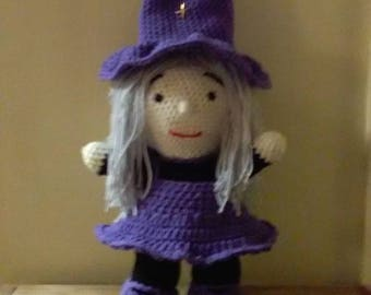 Doll/Witch/Handmade/crocheted/amigurumi/child/toy/gift/stuffed/Halloween/Birthday/plush/