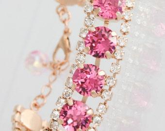 Crystal bracelet,swarovski,swarovski bracelet,pink bracelet,Swarovski Rose,pink bridal bracelet,pink wedding jewelry,pink jewelry,pink