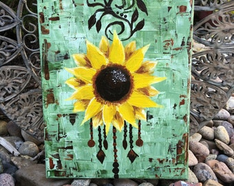 8x10 Boho Sunflower Painting Acrylic On Canvas Henna Inspired Pallet