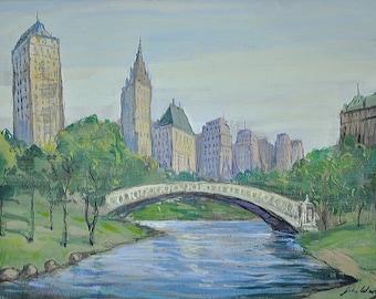 John Wenger - Russian/American - A Bridge in Central Park - Watercolor & Gouache