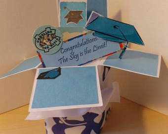 Handmade Graduation pop up exploding box card- University of North Carolina-UNC-or  any school or college- Free Shipping in USA