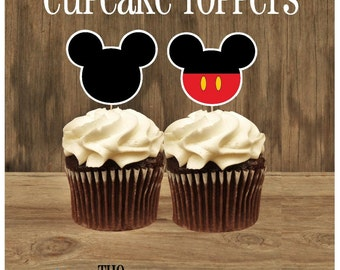 Mouse Friends Party - Set of 24 Double Sided Assorted Mickey Silhouette and Mickey with Pants Cupcake Toppers by The Birthday House