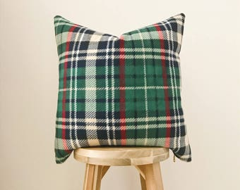 """GREEN PLAID FLEECE - 18x18"""" Pillow Cover, Green/Red/Navy/Red/White/Natural"""
