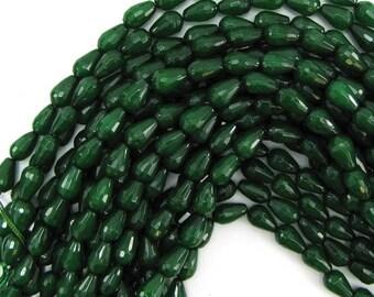 "12mm faceted emerald green jade teardrop beads 15"" strand 12818"