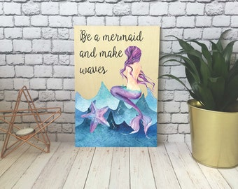 Wooden Print / Gift / Decoration / Present / A4 / A5 / A6 / Mermaid / DD523