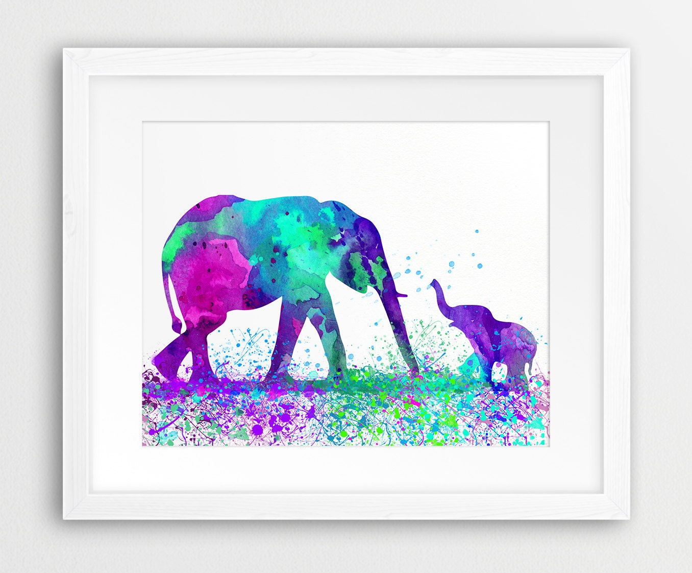 Elephant Family Watercolor Print Elephant Silhouette Colorful