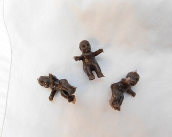 Vintage Brown Mini Miniature Plastic Baby Dolls For Craft or Repurpose