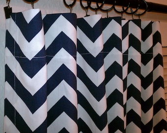 Navy Blue White Chevron Curtains  Rod Pocket  63 72 84 90 96 108 or 120 Long by 24 or 50 Wide