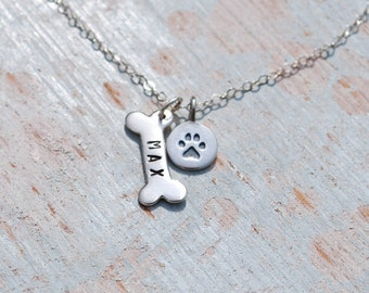 Sterling silver dog bone necklace, personalized dog bone necklace, silver dog bone and paw print, pet necklace, pet remembrance