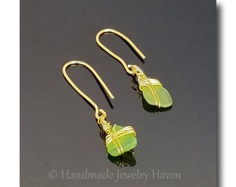 Green Seaglass, Wire Wrap Earrings, Seaglass Earrings, Boho Jewelry, Wire Wrap Seaglass, Handmade Jewelry, Mothers Day Gift, Beach Jewelry