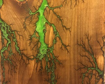 Electric Green Lichtenberg on reclaimed wood with gear