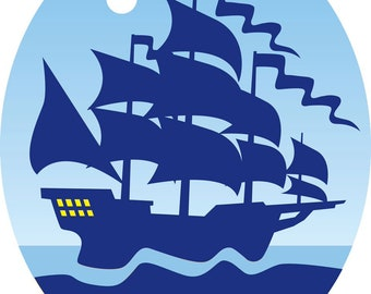 Vinyl Decal Slap Sticker Multi Color - Cool Vintage Sail Ship Silhouette Ocean Cartoon Icon (Tall)