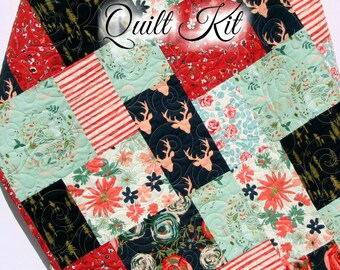 Quilt Kit, Woodland Fusion Art Gallery Fabrics Baby Quilt Kit, Throw Quilt Kit, Twin Quilt Kit Deer Buck Forest Navy Blue Red Floral Flowers