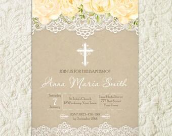 Lace Baptism Invitation, Flowers baptism Invitation, Floral Kraft Rustic Girl Baptism Invitation, Girl First Communion Christening Invite