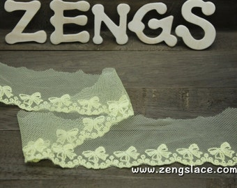 Yellow mesh lace trim embroidered with bow ties, 2 inches wide lace edging, doll lace, priced by the yard/EE-46