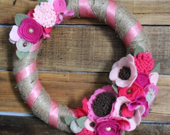 SALE! Pink Spring Wreath, Felt Flower Wreath, Summer Wreath