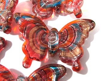 Butterfly Lampwork Glass Butterfly Five (5) Ready to Wrap Orange Blue Silver Copper Butterfly Mosaic Altered Art Jewelry Supplies (N255)