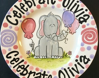 Hand Painted Personalized Elephant with balloons theme Birthday Plate
