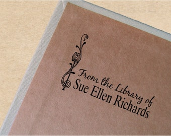 Custom Book Stamp, Vintage Bookplate, Personalized Book Stamp, Ex Libris Stamp, Sue Ellen