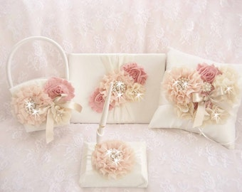 Flower Girl  Basket and Pillow, Rose Gold Guest Book, Pen,  Ring Bearer Pillow, Flower Girl Basket Set Wedding Pillow Vintage
