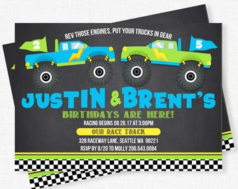 Monster Truck Birthday Invitations, Twin Boys Birthday Invitation, Chalkboard Invitation, Monster Truck Party Invite, Monster Jam