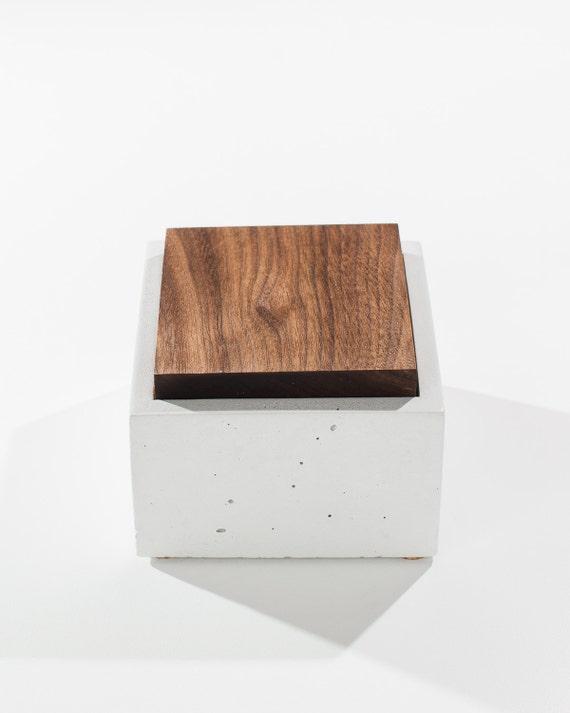 Small White Concrete Box with solid Dark American Walnut wood