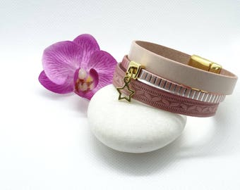 Leather Cuff Bracelet shades of pink with magnetic clasp and charm star