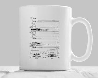 Star Wars X Wing Mug, Star Wars Gift, Starwars Print, Star Wars Coffee Mug, Star Wars Tea