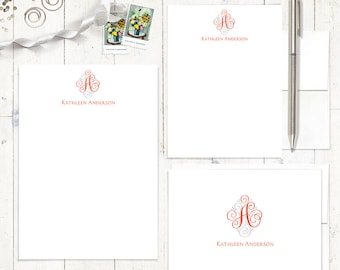 complete personalized stationery set - LOVELY SCROLL MONOGRAM - personalized monogrammed stationary - note cards - notepad