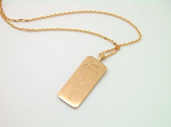 18K Gold Dog Tag Necklace Custom Mens Necklace 18K Gold Mens