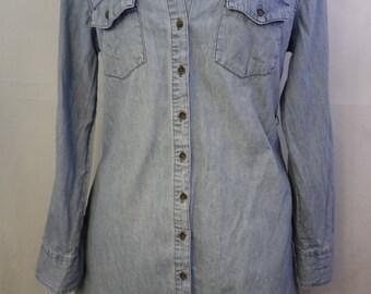 Light blue denim button up dress with pockets